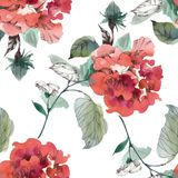 Watercolor seamless pattern with colorful flowers and leaves on white background, watercolor floral pattern, flowers in. Pastel color, tile for wallpaper, card Royalty Free Stock Photo