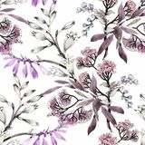 Watercolor seamless pattern with colorful flowers and leaves on white background, watercolor floral pattern, flowers in. Pastel color, tile for wallpaper, card Stock Image