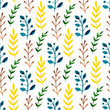 Watercolor seamless pattern with colorful leaves and branches. Hand paint vector seasonal background. Can be used for wrapping, te Stock Image
