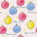 Watercolor. Seamless pattern of colorful vector Christmas balls royalty free illustration