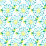 Watercolor seamless pattern. Colorful watercolor daisies  on white background. Stock Image