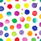 Watercolor seamless pattern with colorful watercolor splashes Royalty Free Stock Image