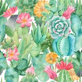 Watercolor seamless pattern with compositions of succulents, flowers. vector illustration