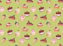 Watercolor seamless pattern of confectionery stock photo