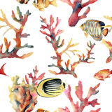 Watercolor seamless pattern with coral and fish. Hand painted ornament with underwater branches isolated on white. Background. Tropical sea life illustration Stock Photography