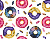 Watercolor seamless Pattern of cosmic donuts coated with glaze on the white background. The pattern made in watercolor technique includes delicious looking stock illustration