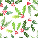 Watercolor seamless pattern with cranberries Royalty Free Stock Photography