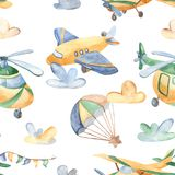 Watercolor seamless pattern with cute airplanes, helicopters, airship, balloon. royalty free illustration