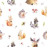 Watercolor seamless pattern of cute baby cartoon hedgehog, squirrel and moose animal for nursary, woodland forest vector illustration