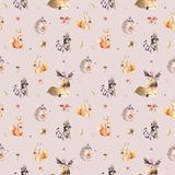 Watercolor seamless pattern of cute baby cartoon hedgehog, squirrel and moose animal for nursary, woodland forest Royalty Free Stock Photography