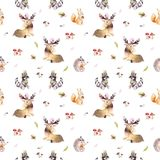 Watercolor seamless pattern of cute baby cartoon hedgehog, squirrel and moose animal for nursary, woodland forest. Illustration for children. Forest decoration stock image
