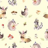 Watercolor seamless pattern of cute baby cartoon hedgehog, squirrel and moose animal for nursary, woodland forest. Illustration for children. Forest decoration Royalty Free Stock Photo