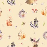 Watercolor seamless pattern of cute baby cartoon hedgehog, squirrel and moose animal for nursary, woodland forest Stock Images