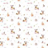 Watercolor seamless pattern of cute baby cartoon hedgehog, squirrel and moose animal for nursary, woodland forest. Illustration for children. Forest decoration royalty free stock images