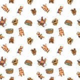 Watercolor seamless pattern with cute bear cubs. Watercolor seamless pattern with cute bear cubs on it. Hand drawn funny pattern with cute animals, that eating Royalty Free Stock Image