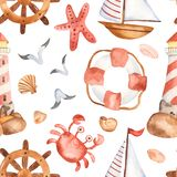 Watercolor seamless pattern with cute cartoon childrens beacon, whale, anchor, steering wheel. Watercolor seamless pattern with cute cartoon childrens beacon stock illustration