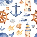 Watercolor seamless pattern with cute cartoon childrens beacon, whale, anchor, steering wheel. Texture for invitations, party decorations, printable, wallpaper royalty free illustration