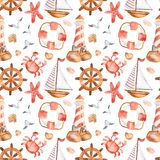 Watercolor seamless pattern with cute cartoon childrens beacon, whale, anchor, steering wheel. Watercolor seamless pattern with cute cartoon childrens beacon royalty free illustration