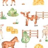 Watercolor seamless pattern with cute cartoon farm animals horse, lamb, calf