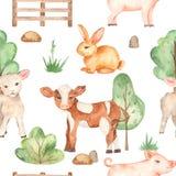 Watercolor seamless pattern with cute cartoon farm animals pig, lamb