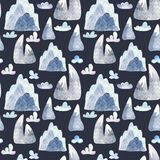 Watercolor seamless pattern with cute cartoon mountains and clouds. vector illustration
