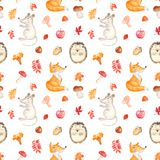 Watercolor seamless pattern with a cute cartoon mouse, fox, hedgehog and leaves. stock illustration