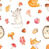 Watercolor seamless pattern with a cute cartoon mouse, fox, hedgehog and leaves. royalty free illustration