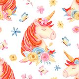 Watercolor seamless pattern with cute cartoon romantic unicorn and flowers.