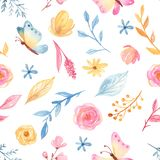 Watercolor seamless pattern with cute cartoon romantic unicorn and flowers. royalty free illustration