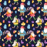 Watercolor seamless pattern with cute dwarves and crystals. vector illustration