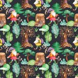 Watercolor seamless pattern with cute dwarves in the fairy forest. royalty free illustration