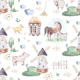 Watercolor seamless pattern with cute farm animals with goat, horse, goose and cow. chicken, sheep and pig domestic. Watercolor seamless pattern with cute farm royalty free illustration