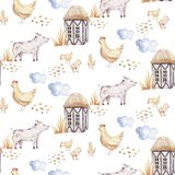 Watercolor seamless pattern with cute farm animals with goat, horse, goose and cow. chicken, sheep and pig domestic. Watercolor seamless pattern with cute farm stock illustration
