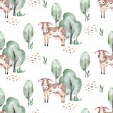 Watercolor seamless pattern with cute farm animals with goat, horse, goose and cow. chicken, sheep and pig domestic. Watercolor seamless pattern with cute farm vector illustration