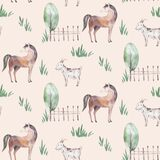 Watercolor seamless pattern with cute farm animals with goat, horse, goose and cow. chicken, sheep and pig domestic