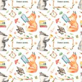 Watercolor seamless pattern with cute fox, badger in forest school