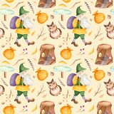 Watercolor seamless pattern with cute gnome with bag, branches, owl, pointer, stump. stock illustration