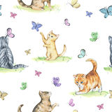 Watercolor seamless pattern with cute kittens. Baby cats playing with butterflies Royalty Free Stock Images