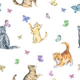 Watercolor seamless pattern with cute kittens. Baby cats playing with butterflies Royalty Free Stock Photo