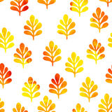 Watercolor seamless pattern with cute leaves Stock Image