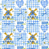 Watercolor seamless pattern with cute mill, cloth in a cage and field flowers. Hand draw rural illustration Royalty Free Stock Photo