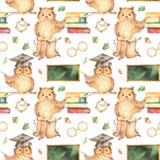 Watercolor seamless pattern with cute owl school teacher