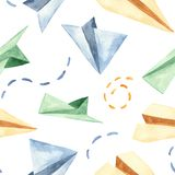 Watercolor seamless pattern with cute paper airplanes. royalty free illustration