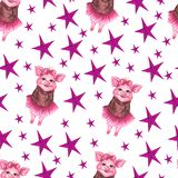 Watercolor seamless pattern with cute piggy and color stars. Animal pig and stars watercolor illustration. vector illustration