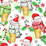 Watercolor seamless pattern with cute pigs with Santa hat in waffle cones. New Year. Celebration illustration. Merry royalty free stock image