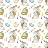 Watercolor seamless pattern with cute rabbit and school set