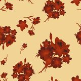 Watercolor seamless pattern with dark red bouquet of flowers on yellow background. China style. Watercolor seamless pattern with dark red bouquet of flowers on stock illustration