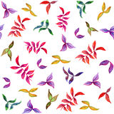 Watercolor seamless pattern with decorative leafs. Watercolor seamless pattern with decorative colorful leafs Stock Photo