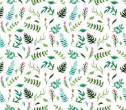 Watercolor Seamless Pattern with Deep Green Ferns, Blue Leaves and Pink Flowers. Watercolor Seamless Romantic Pattern with Deep Green Ferns, Blue Leaves and Pink Stock Image