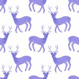 Watercolor seamless pattern with deers on the Stock Image